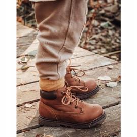 Apawwa Dětské chlapecké hnědé boty Kozačky Moa hnědý 1