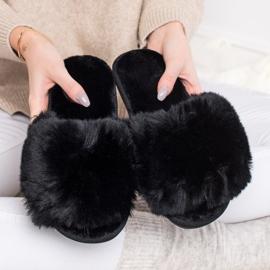 Bona Stylové černé pantofle černá 4