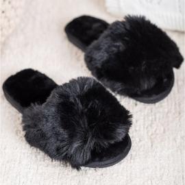 Bona Stylové černé pantofle černá 1