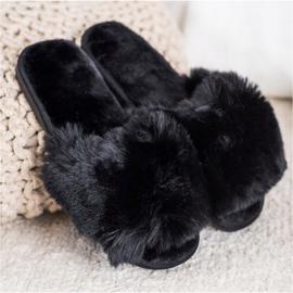 Bona Stylové černé pantofle černá 2