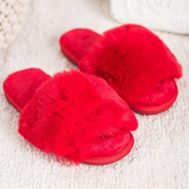 Bona Stylové červené pantofle červená 2