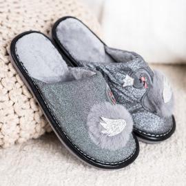 Bona Stylové pantofle s aplikací šedá 4