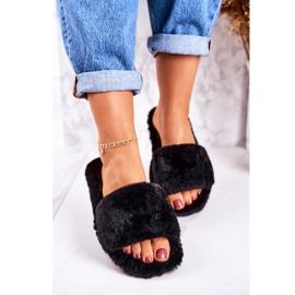 FRJ Dámské pantofle z černé kožešiny v chladných dnech černá 1