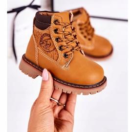 Linshi Lapače dětských teplých bot na gumovém podešvi z karamelu Bobby hnědý žlutý 2