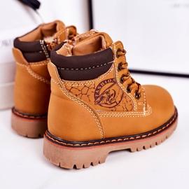 Linshi Lapače dětských teplých bot na gumovém podešvi z karamelu Bobby hnědý žlutý 3
