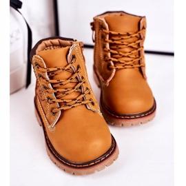 Linshi Lapače dětských teplých bot na gumovém podešvi z karamelu Bobby hnědý žlutý 4