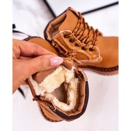 Linshi Lapače dětských teplých bot na gumovém podešvi z karamelu Bobby hnědý žlutý 5