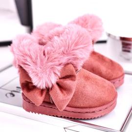 FRROCK Dětské sněhové boty s kožešinovou mašlí, růžová Vella růžový 1