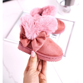 FRROCK Dětské sněhové boty s kožešinovou mašlí, růžová Vella růžový 2