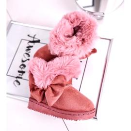 FRROCK Dětské sněhové boty s kožešinovou mašlí, růžová Vella růžový 3