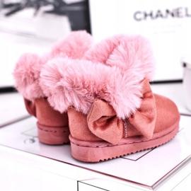 FRROCK Dětské sněhové boty s kožešinovou mašlí, růžová Vella růžový 4
