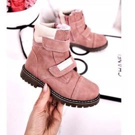 Apawwa Dětské lovecké boty zahřáté kožešinově růžovou Emmou béžový růžový 3