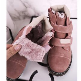 Apawwa Dětské lovecké boty zahřáté kožešinově růžovou Emmou béžový růžový 1