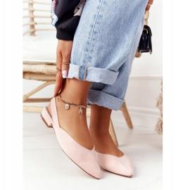 S.Barski Semišové baleríny na vysokých podpatcích S. Barski Pink růžový 1
