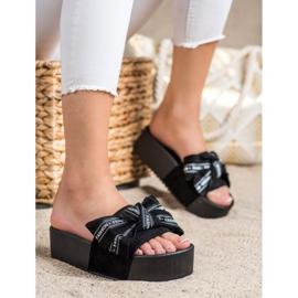 SHELOVET Pantofle s módní mašlí černá 1