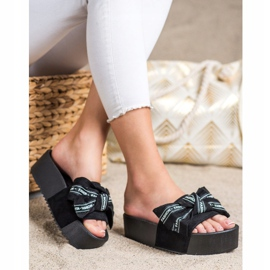SHELOVET Pantofle s módní mašlí černá 3