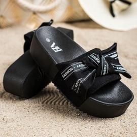 SHELOVET Pantofle s módní mašlí černá 2