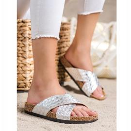 Bona Pohodlné pantofle s ekologickou kůží stříbro 3