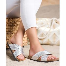 Bona Pohodlné pantofle s ekologickou kůží stříbro 2
