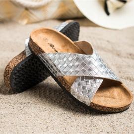 Bona Pohodlné pantofle s ekologickou kůží stříbro 1