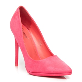 Seastar Růžové semišové vysoké podpatky růžový 2