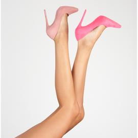 Seastar Růžové semišové vysoké podpatky růžový 6